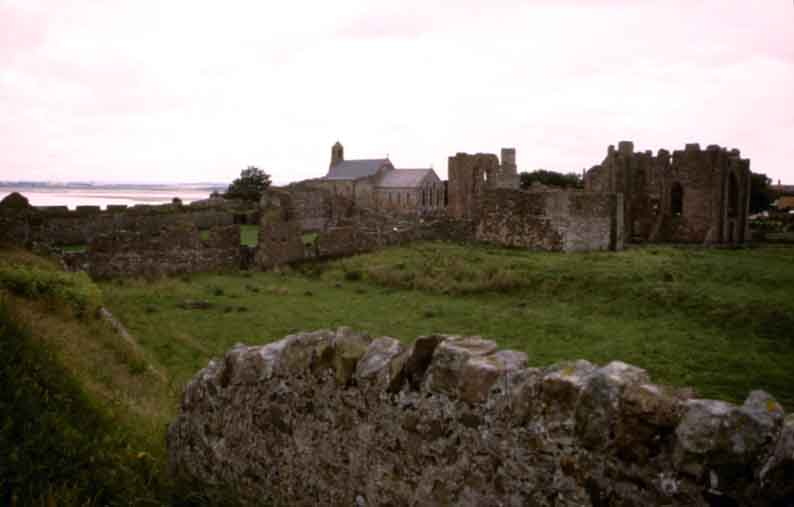 Parish Church and the ruins of Lindisfarne Priory
